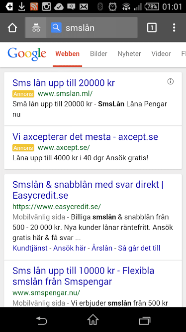 Smslån i Adwords